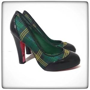Betsey Johnson Green Plaid Patent Leather Pumps